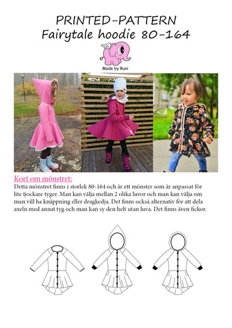 Mønsterark/printed pattern: Fairytale Hoodie child size 80-164 (US 12m-14y)