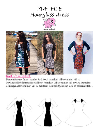 PDF-mønster/pattern: Hourglass Dress adult size 34-58 (US 4-28)
