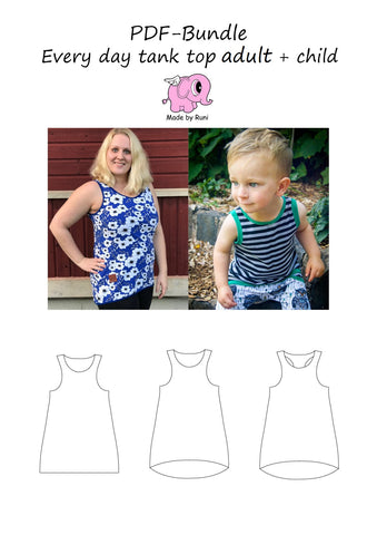 PDF-pakke/bundle: Every Day Tank Top child + adult fitted