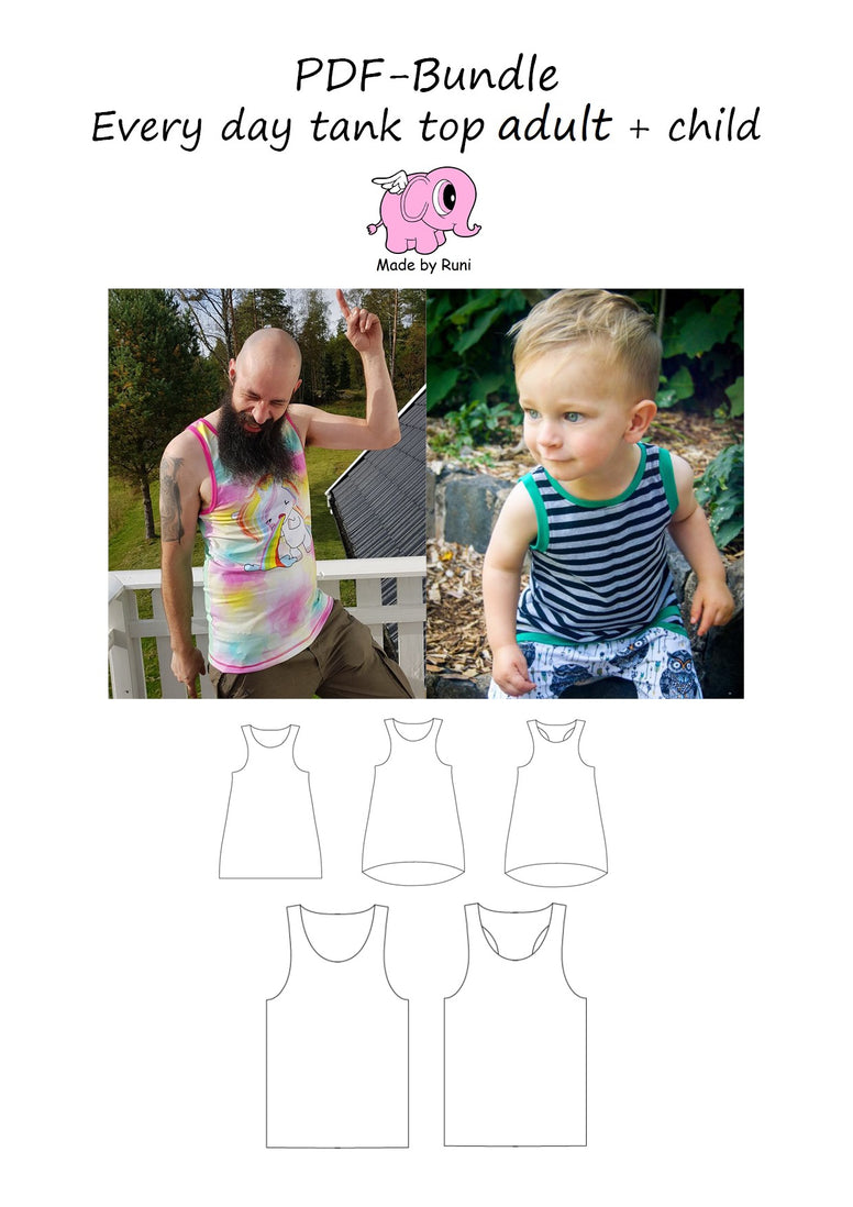 PDF-pakke/bundle: Every day tank top child + adult straight cut