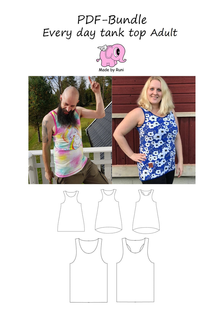 PDF-pakke/bundle: Every day tank top adult fitted + straight cut