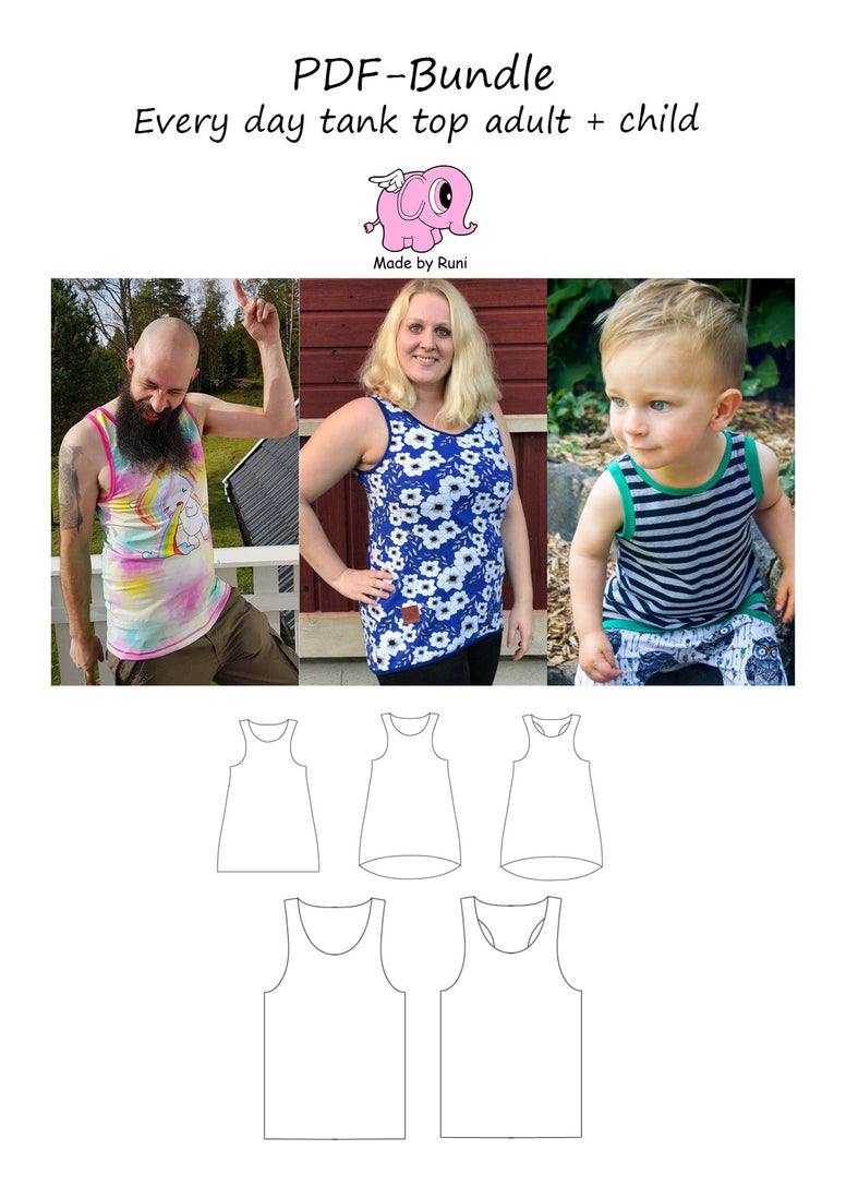 PDF-pakke/bundle: Every day tank top women + men + child