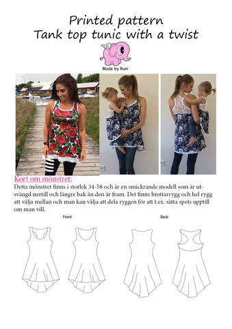 Mønsterark/printed pattern: Tank Top Tunic With a Twist adult size 34-58 (US 4-28)