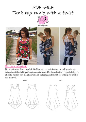 PDF-mønster/pattern: Tank Top Tunic With a Twist adult size 34-58 (US 4-28)