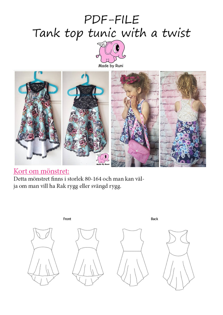 PDF-mønster/pattern: Tank Top Tunic With a Twist child size 80-164 (US 12m-14y)