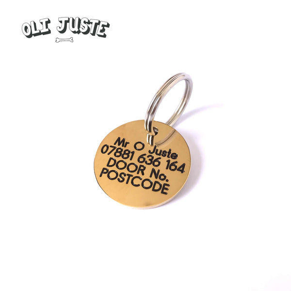 """Lost Chasing My Ball"" Brass ID Tag"