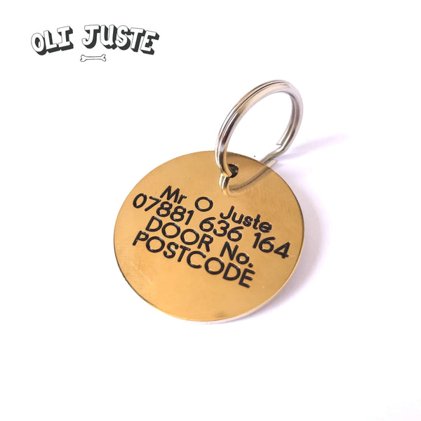Dog Face Brass ID Tag