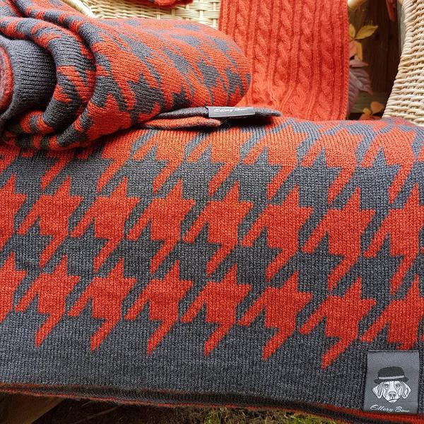Houndstooth Blanket - NEW Smoky Orange and Anthracite