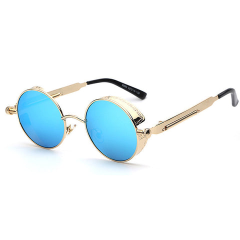 Gold Blue Ice Steampunk Sunglasses