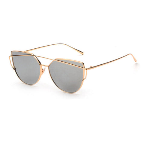 Gold Silver Cat Eye Sunglasses