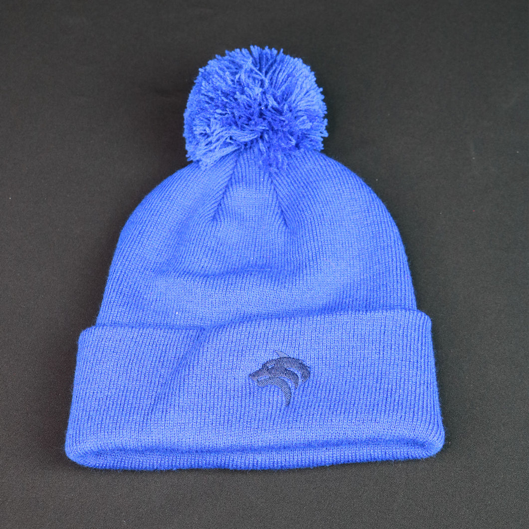 Royal Blue Bobble Beanie with Blue Crest
