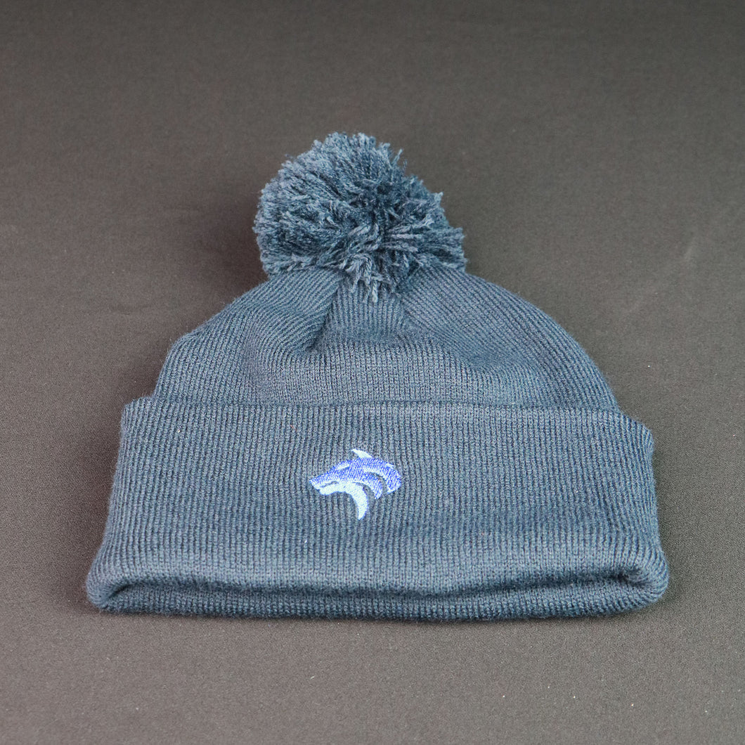 Navy Blue Bobble Beanie with Blue Crest