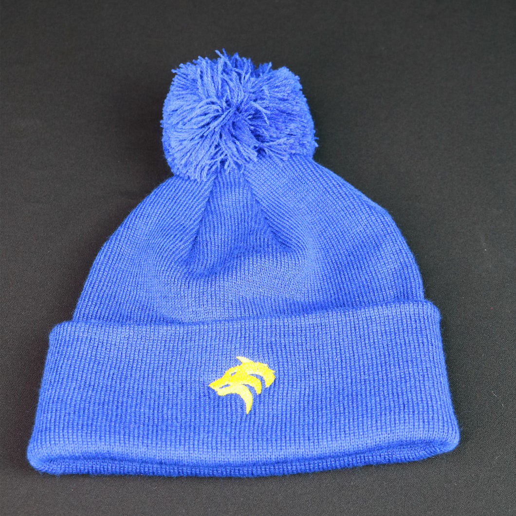 Royal Blue Bobble Beanie with Yellow Crest