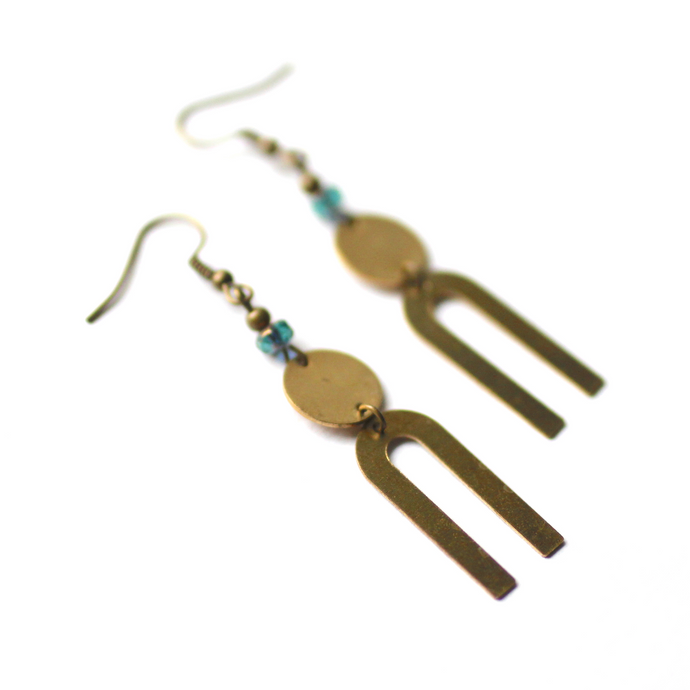 Modern Raw Brass U Earrings with Glass Bead
