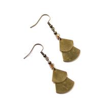 Stacked Fan Shapes - Raw Brass Dangle Earrings with Glass Beads