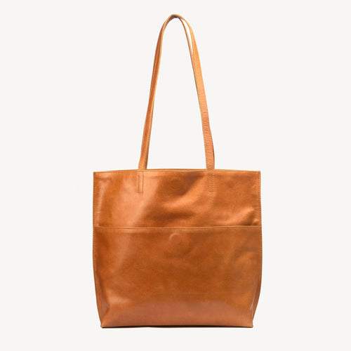 Everyday Tote in Camel Leather
