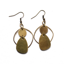 Modern Organic Shapes - Raw Brass Dangle Earrings