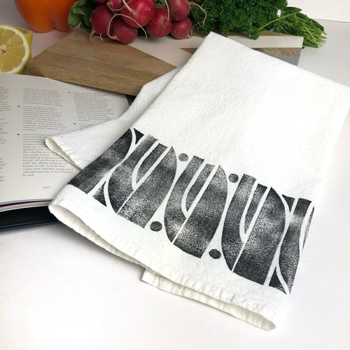 Abstract Floral Bulb Tea Towel - Block Printed Kitchen Towel