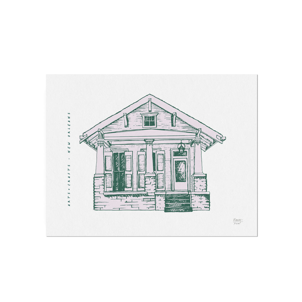 Arts + Crafts Cottage - New Orleans Homes Illustration Art Print
