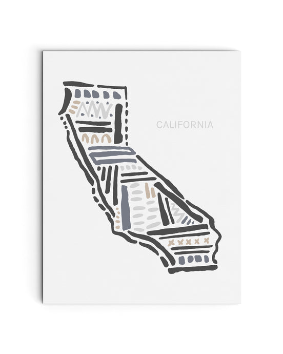 California State Map Art Print | SI-CA