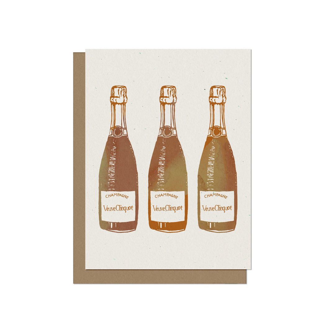 Three Champagne Bottles Blank Card