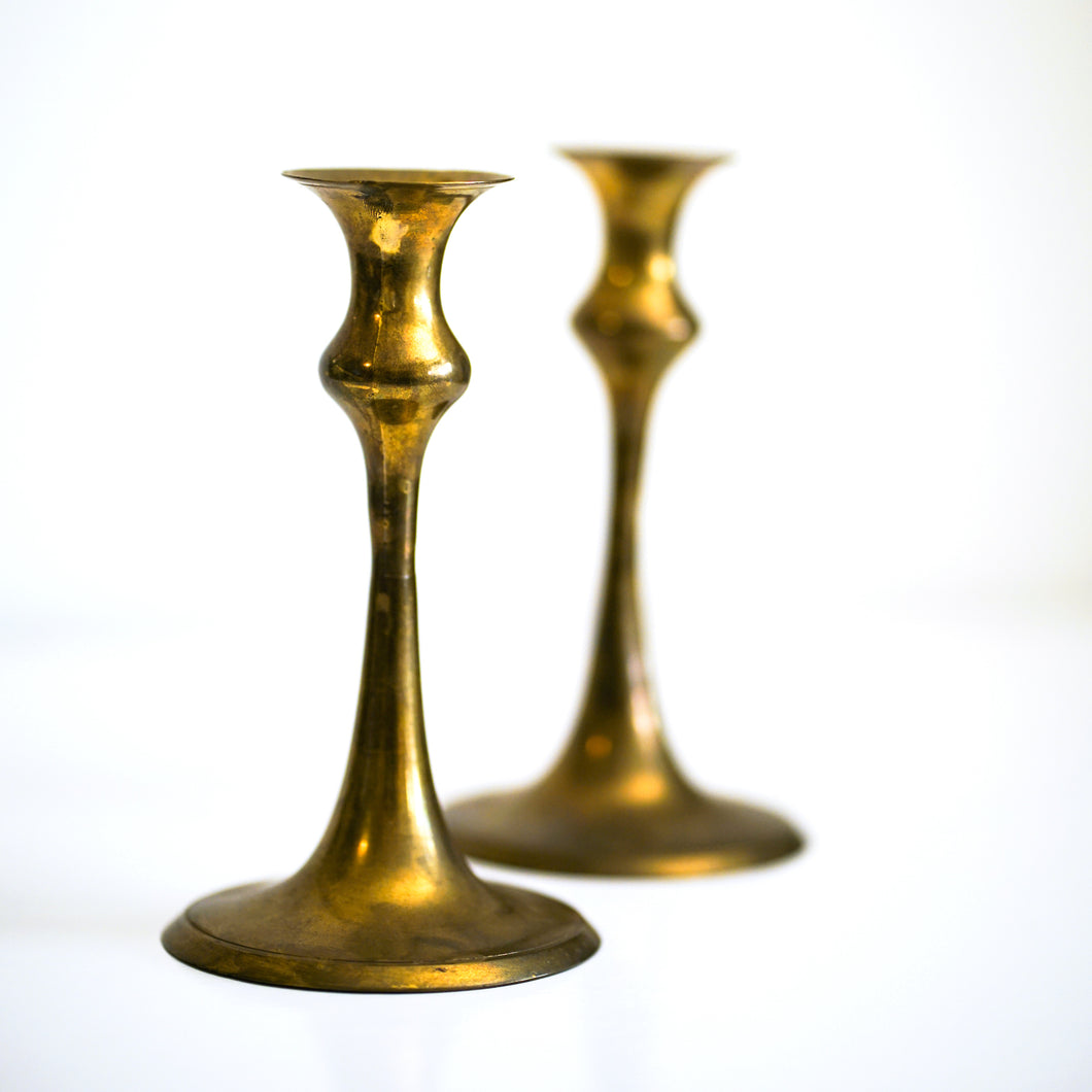 Set of 2 Antique Brass Candlestick Holders