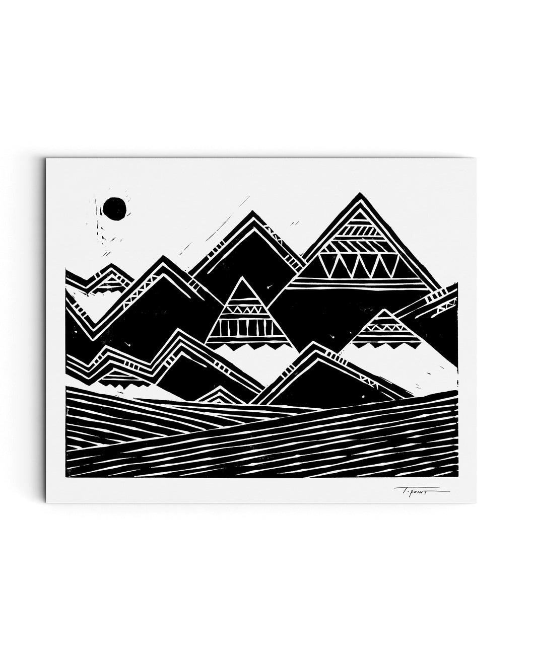 Tribal Mountains Print | Block Print