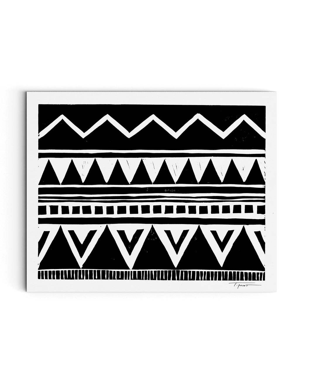 Zig Zag Above Tribal Triangles | Block Print