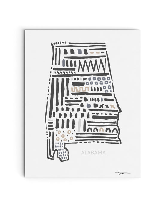 Alabama State | Map Art Print | SI-AL