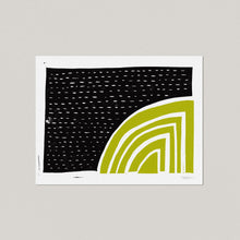 Curves and Forms - Black and Chartreuse | Block Print