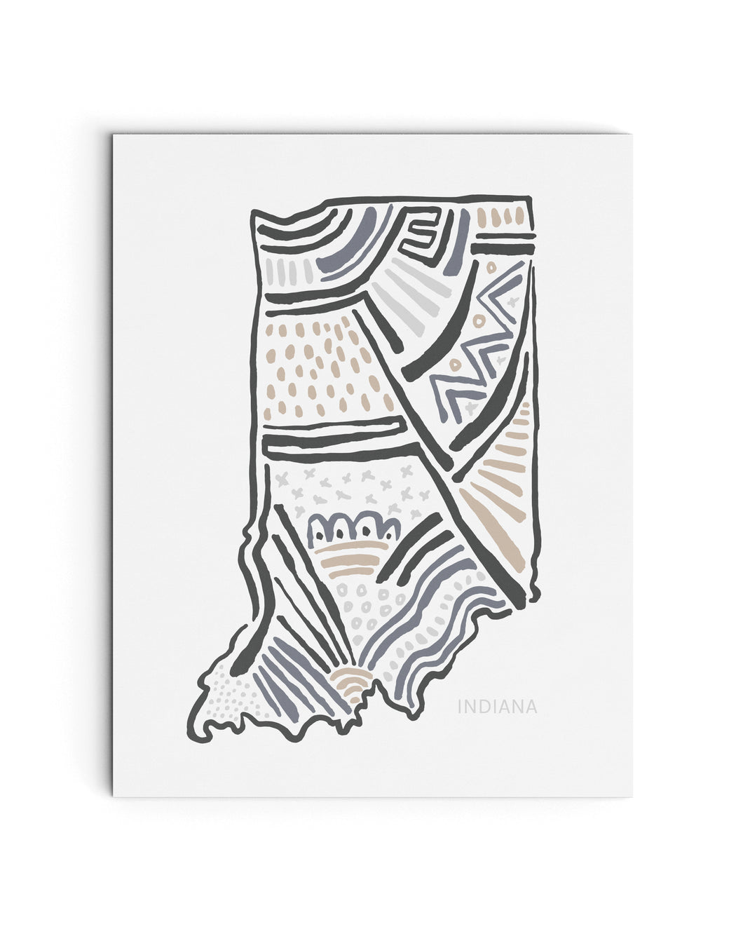 Indiana State | Map Art Print | SI-IN