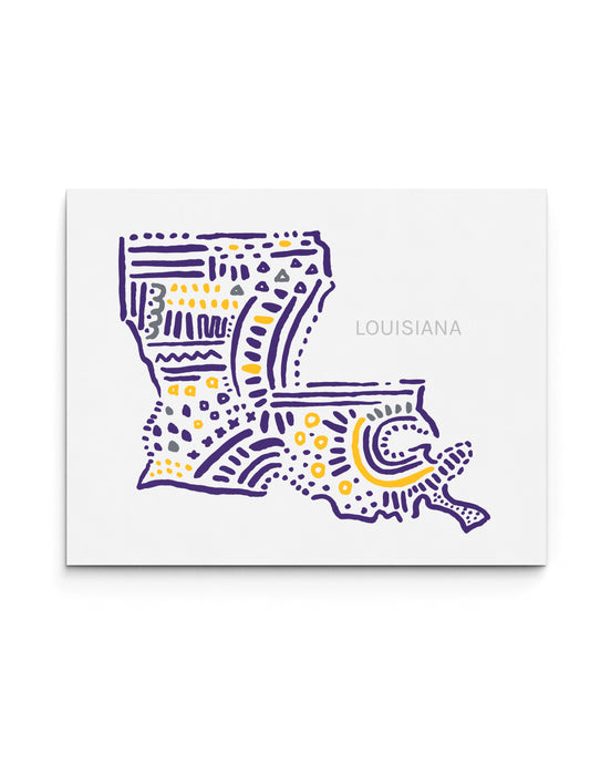 LSU Louisiana State | Map Art Print | SI-LSU