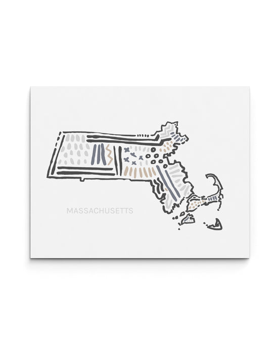 Massachusetts State Map Art Print | SI-MA