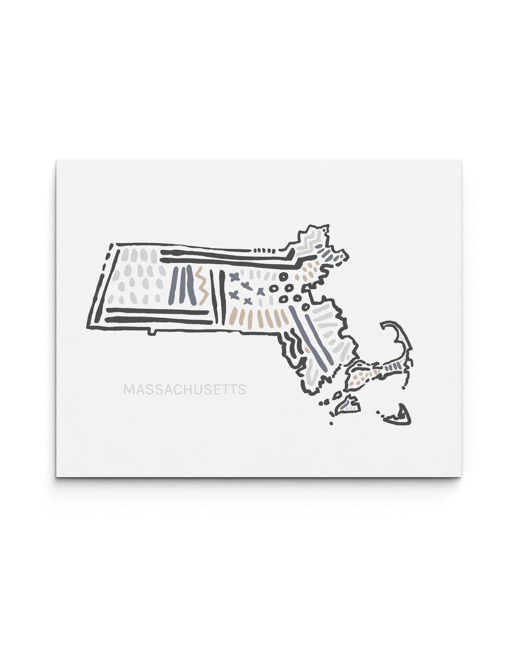 Massachusetts State | Map Art Print | SI-MA