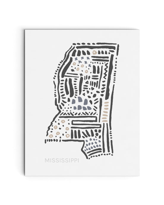 Mississippi State Map Art Print | SI-MS