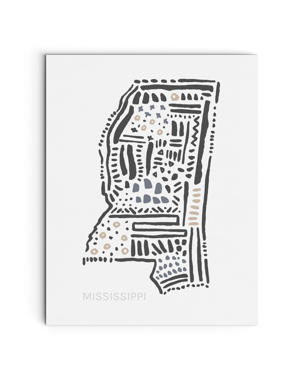 Mississippi State | Map Art Print | SI-MS