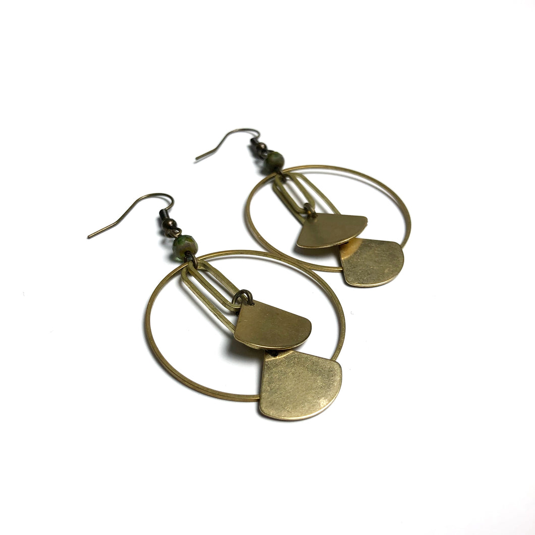 Hoop and Stacked Fan Shapes - Raw Brass Dangle Earrings with Green Glass Beads