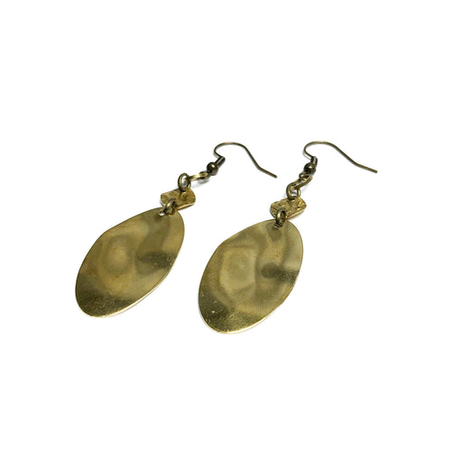 Minimalist Organic and Elongated Raw Brass Dangle Earrings