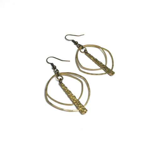 Double Organic Squared Hoops Earrings with Textured Long Charm
