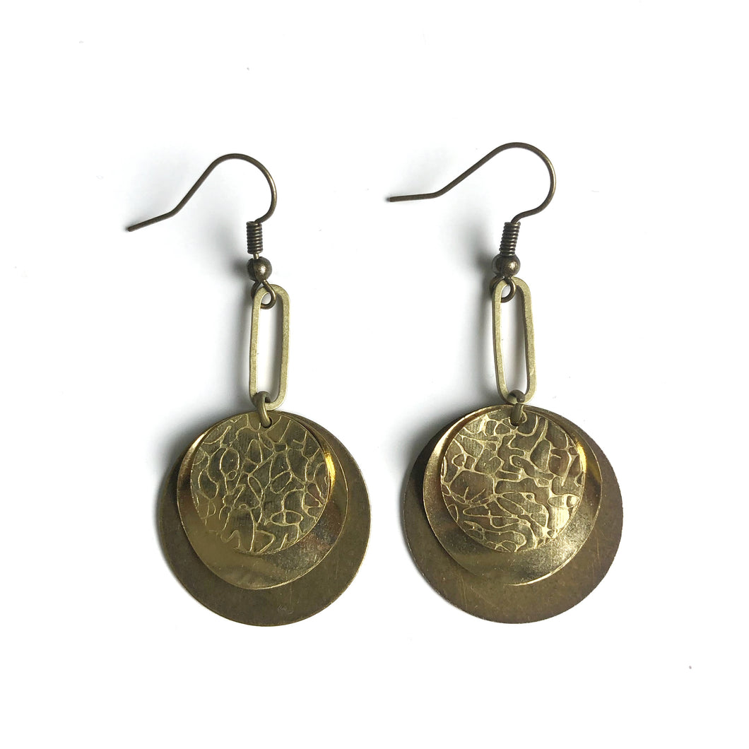 Layered Textured Circular Raw Brass and Antique Brass Dangle Earrings