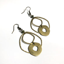 Raw Brass Modern and Organic Shaped Earrings with Dark Green Glass Beads