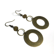 Thick Hoop Earrings with Circular Textured Charms - Raw Brass Dangle Earrings