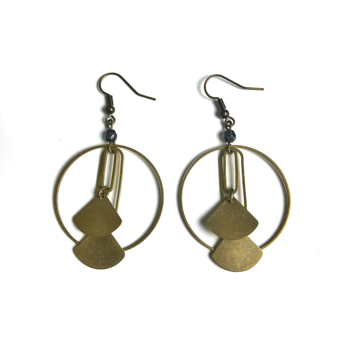 Hoop and Stacked Fan Shapes - Raw Brass Dangle Earrings with Dark Blue Glass Beads