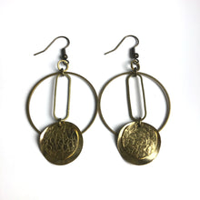 Layered Circular and Textured Raw Brass Dangle Earrings