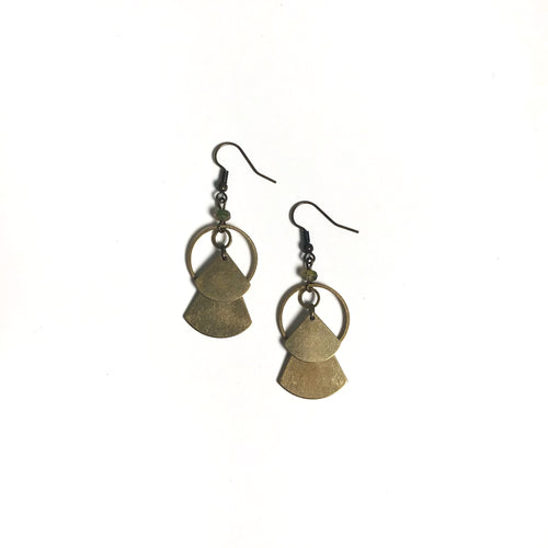 Stacked Fan Shapes - Circular Raw Brass Dangle Earrings with Glass Beads