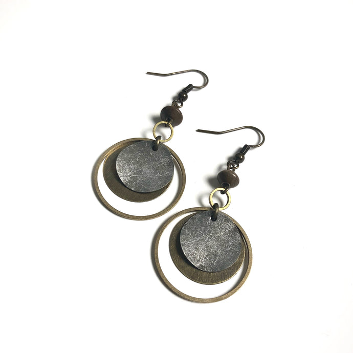 Oxidized Silver and Antique Brass Dangle Earrings with Wood Accents