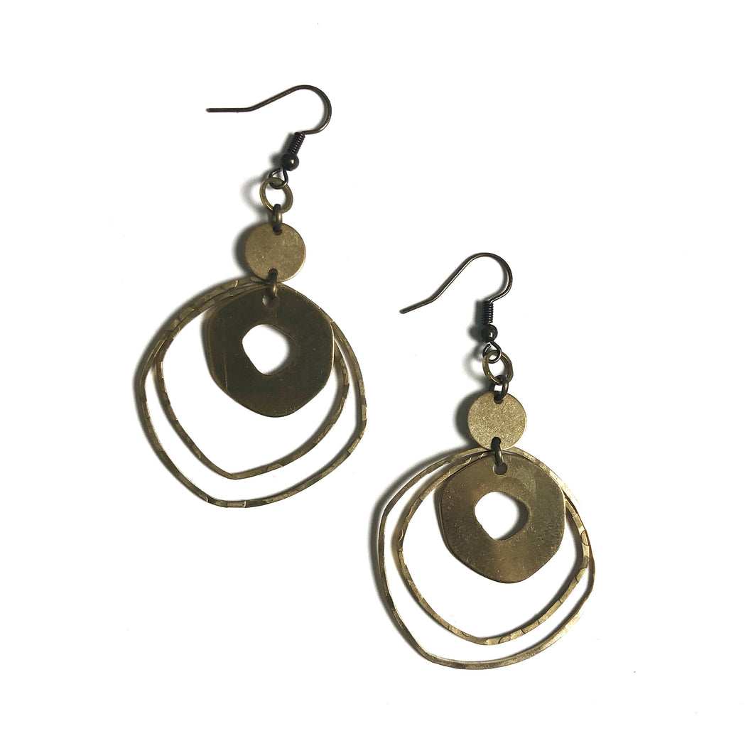 Modern and Organic Shapes - Raw Brass Dangle Earrings