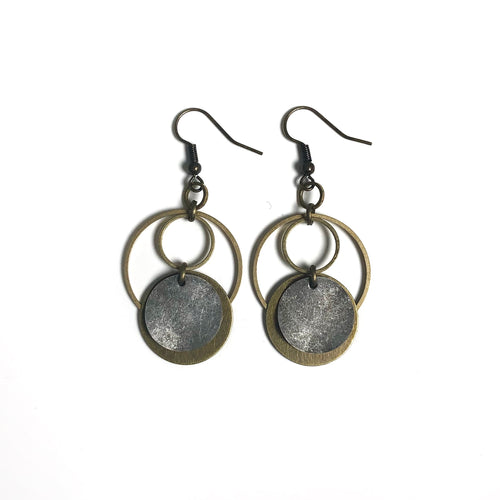 Oxidized Silver, Antique and Raw Brass Dangle Earrings