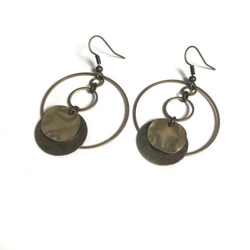 Circular Antique and Raw Brass Dangle Earrings