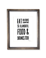 Eat DELICIOUS Food & Drinks Kitchen Block Print - Typography Print